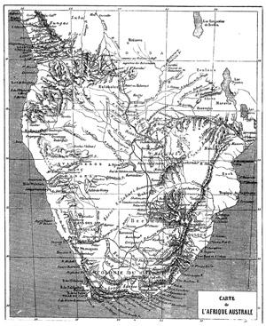 Carte de l'Afrique australe, extraite du récit : David et Charles Livingstone - 1866 - Exploration du Zambèze et de ses affluents et découverte des lacs Chiroua et Nyassa