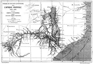 Carte de l'Afrique orientale, extraite du récit : David et Charles Livingstone - 1866 - Exploration du Zambèze et de ses affluents et découverte des lacs Chiroua et Nyassa.