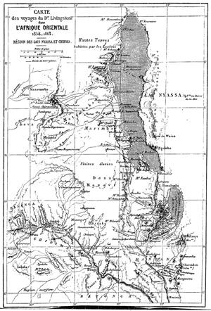 Carte de l'Afrique orientale, Région des Lacs Nyassa et Chirwa, extraite du récit : David et Charles Livingstone - 1866 - Exploration du Zambèze et de ses affluents et découverte des lacs Chiroua et Nyassa.