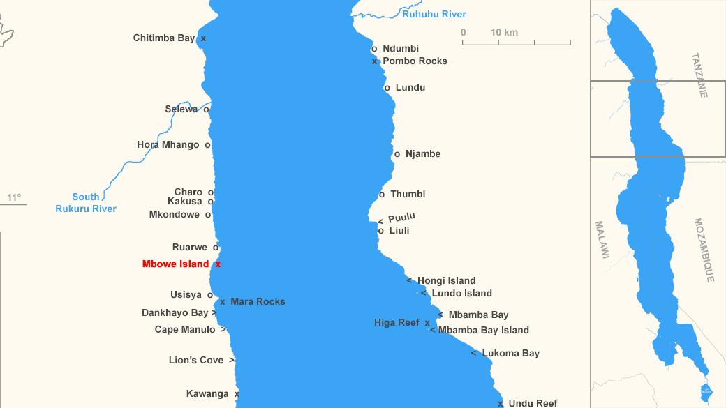 Localisation de Mbowe Island, Malawi