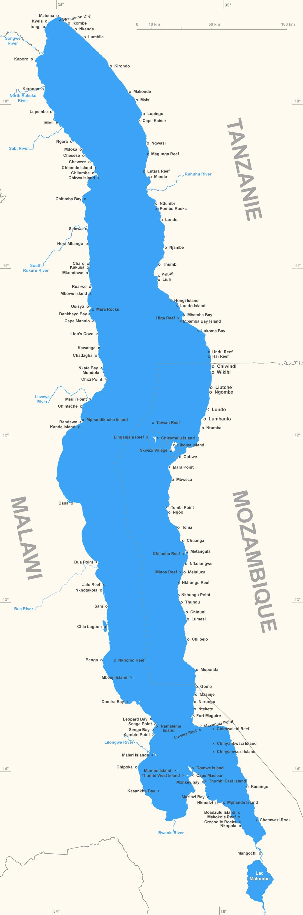 Carte du lac Malawi et ses principales localités et sites