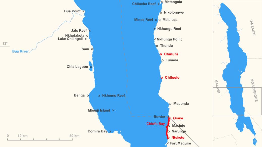 """Distribution de Placidochromis sp. """"phenochilus gissel"""""""